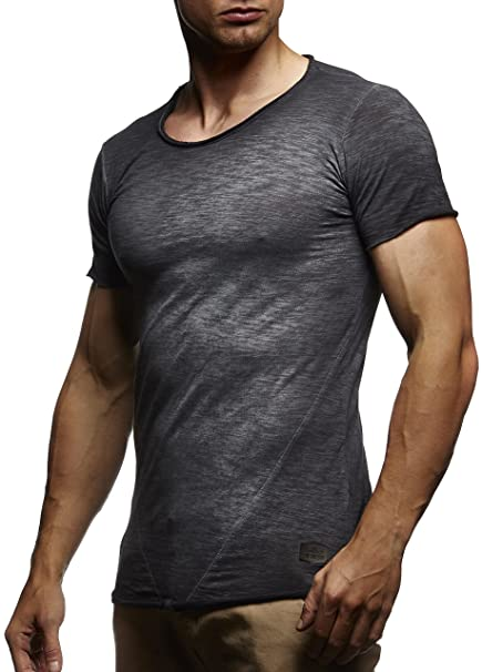 LEIF NELSON Herren oversize verwaschene T-Shirts Rundhals Shirts Basic  LN6281-1; Größe