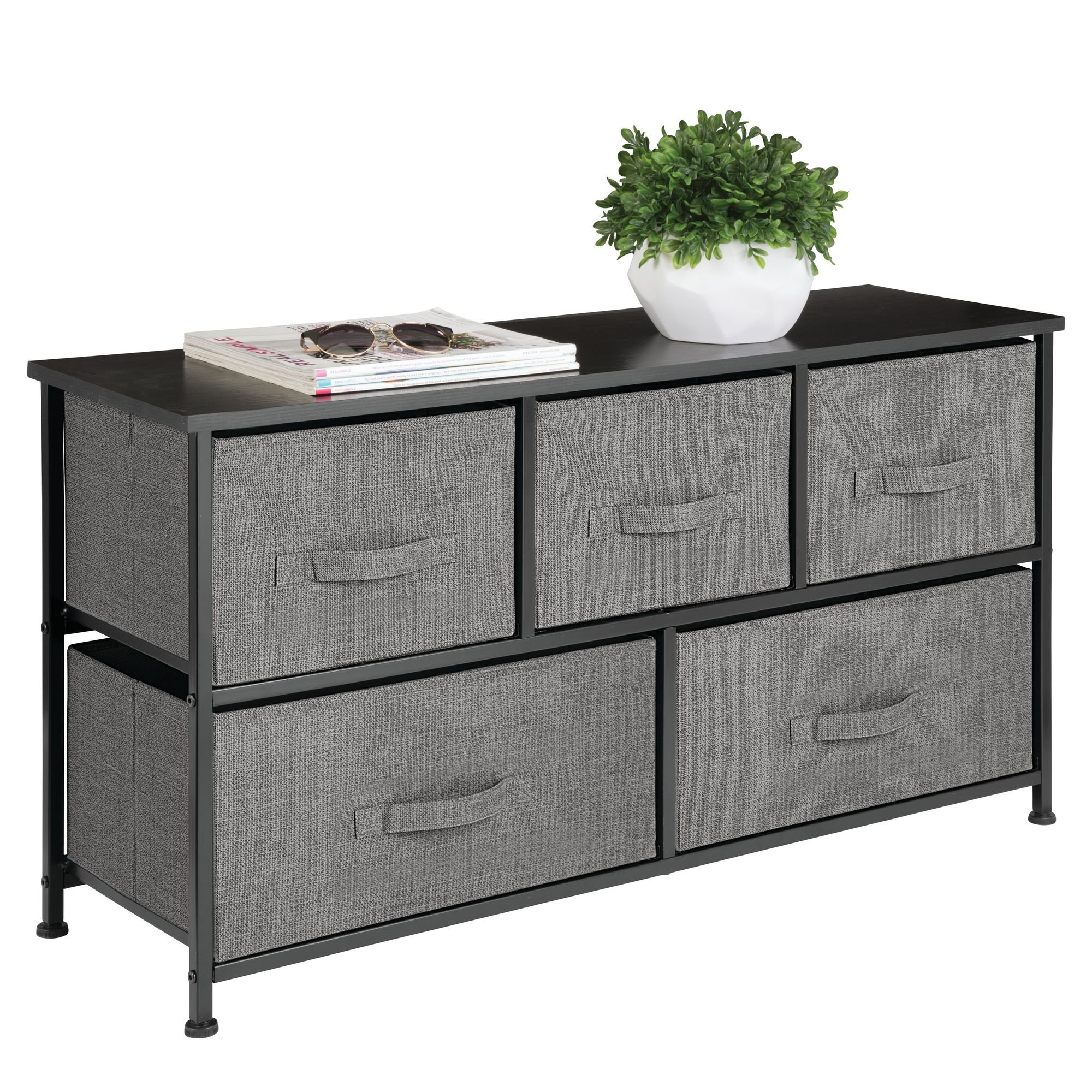 mDesign Extra Wide Dresser Storage Tower - Sturdy Steel Frame, Wood Top, Easy Pull Fabric Bins - Organizer Unit for Bedroom, Hallway, Entryway, Closet - Textured Print - 5 Drawers, Charcoal Gray/Black by mDesign