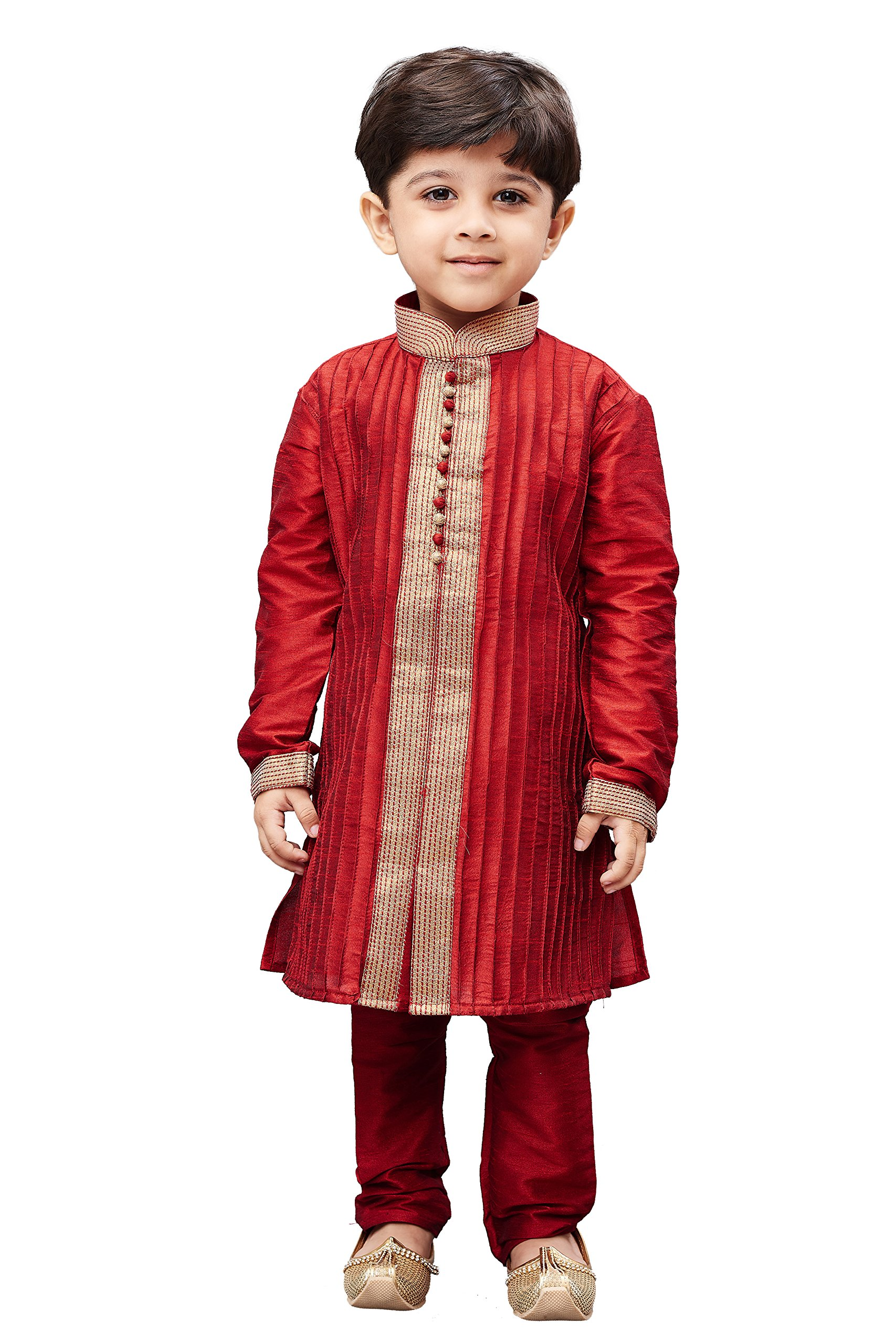 JBN Creation Boys' Maroon Cotton Silk Kurta Pyjama Set(VASBKMA003nPMA_32)