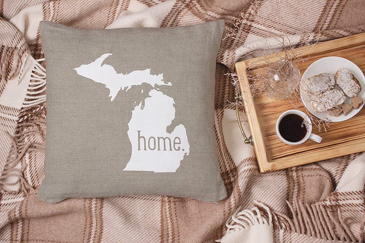 18X18 inch Fashion Style Zippered Cushion Pillow Cover ONELZ Michigan Home State Square Decorative Throw Pillow Case