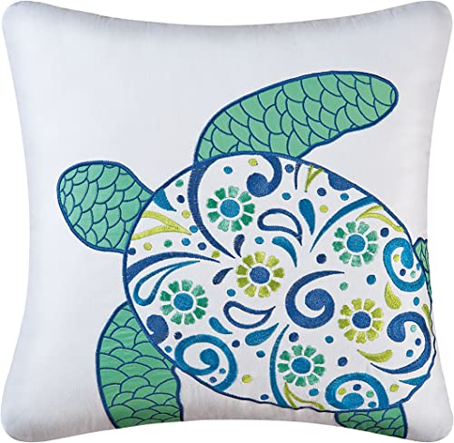 C F Home Meridian Sea Turtle Coastal Tropical Beach Ocean Sea Life Handcrafted Cotton Teal Blue Paisley Applique Pillow 18 x 18 Turtle Blue