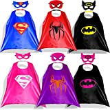 Lazu Superhero Dress Up Costumes 6 Satin Capes with Felt Masks for both Girls and Boys