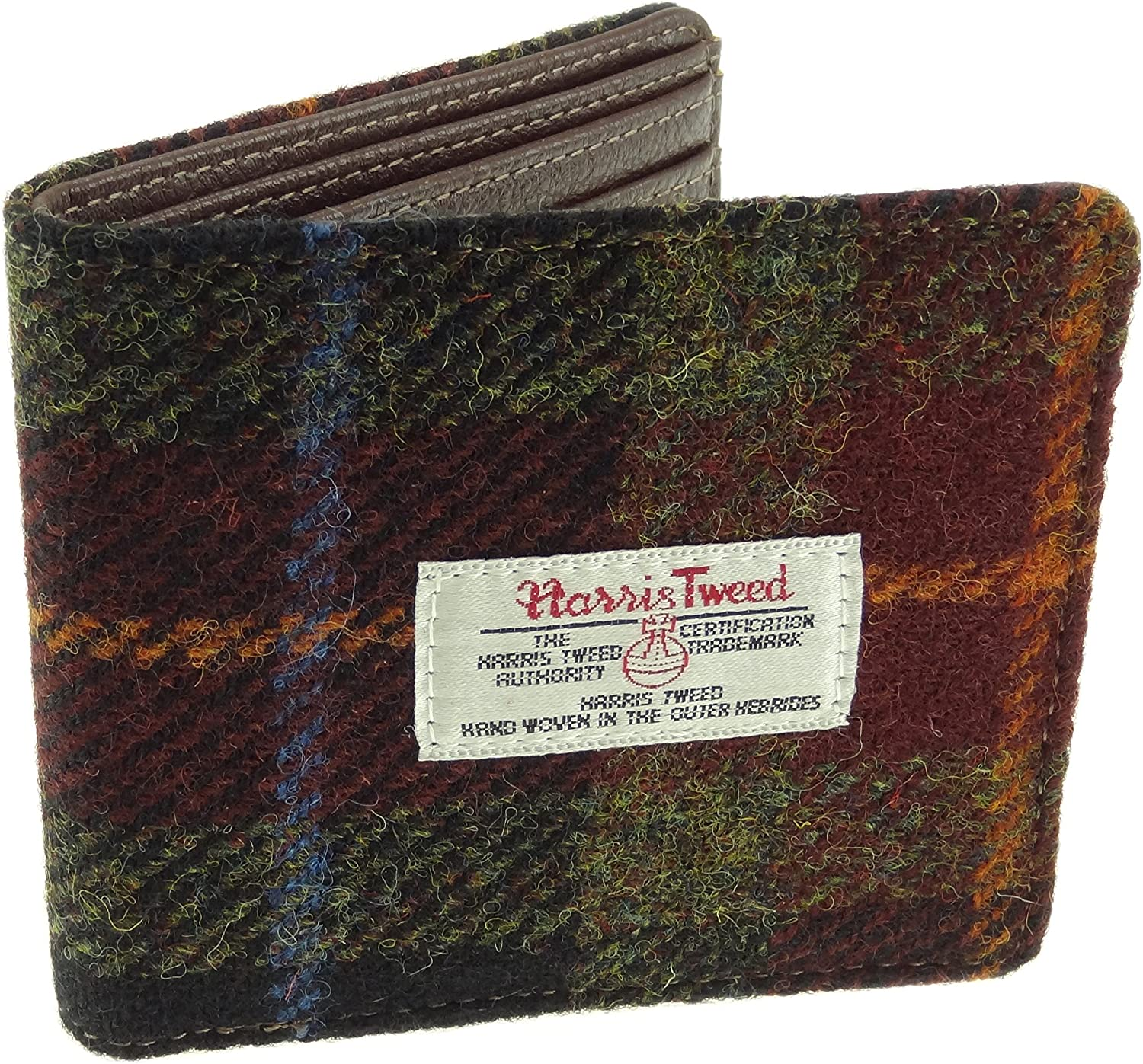 Large wallet brown leather and tweed