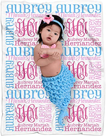 a460c0bd52ebb Personalized Baby Name Blanket Monogrammed Baby Shower Gift (Vine Monogram  - Expressions...