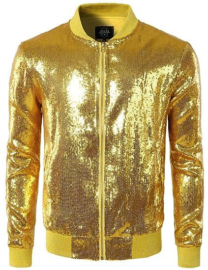 8842eb866fa JOGAL Mens Shiny Sequins Nightclub Styles Zip Up Varsity Baseball Bomber  Jacket Costume Small A346 Gold