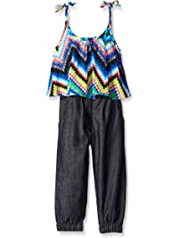 Limited Too Girls' Zig Zag Printed Top and Denim Bottom Romper