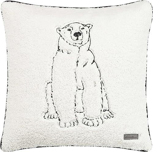 Eddie Bauer Cozy Polar Bear Throw Pillow, 20×20, Natural