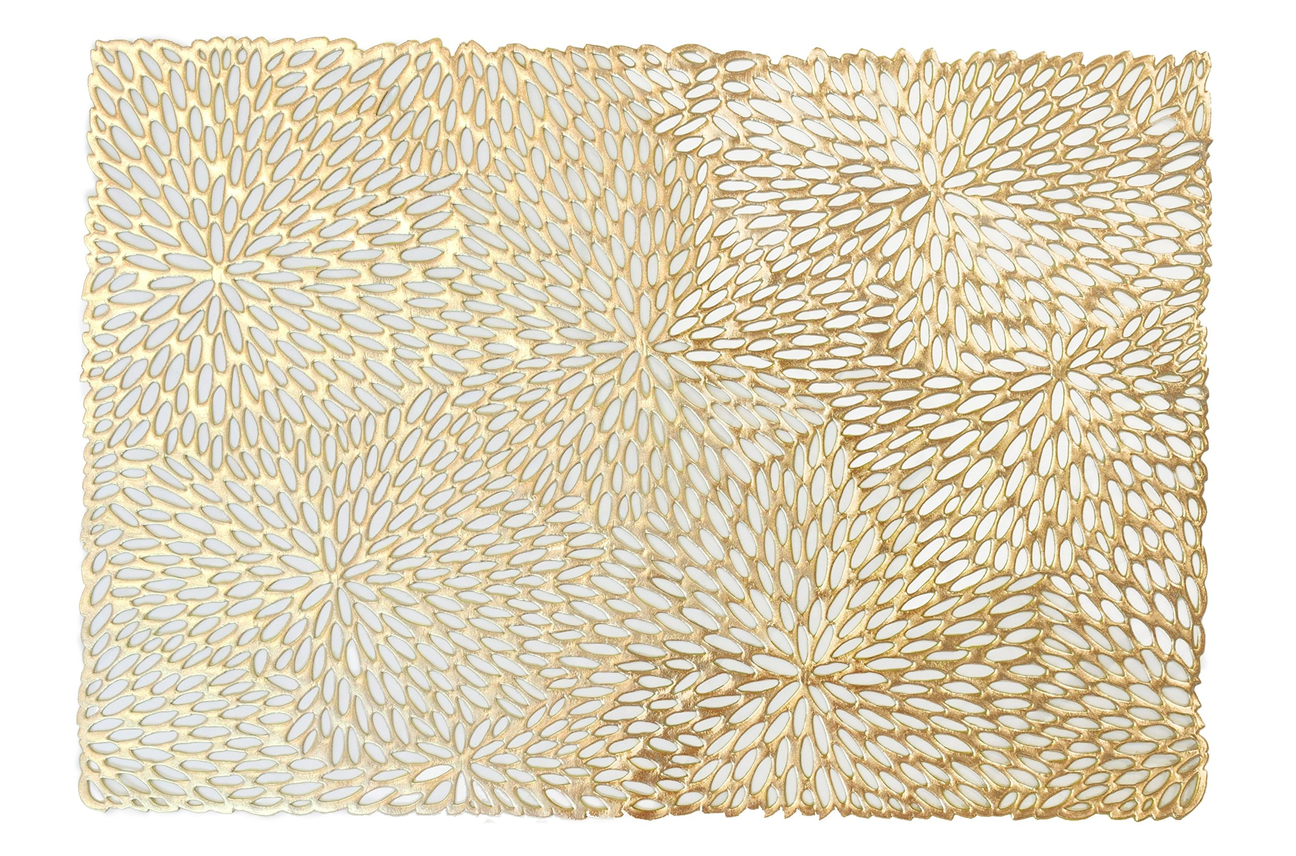 '' OCCASIONS '' Pressed Vinyl Metallic Placemats / Charger / Wedding Accent Centerpiece (40 pcs, Rectangular Gold Leaf)