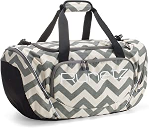"Runetz - Gym Bag for Women and Men - Ideal Workout Overnight Weekend Bag - Sport Duffle Bag - Large Size, 20"" x 10"" x 10.5"" - CHEVRON GRAY"