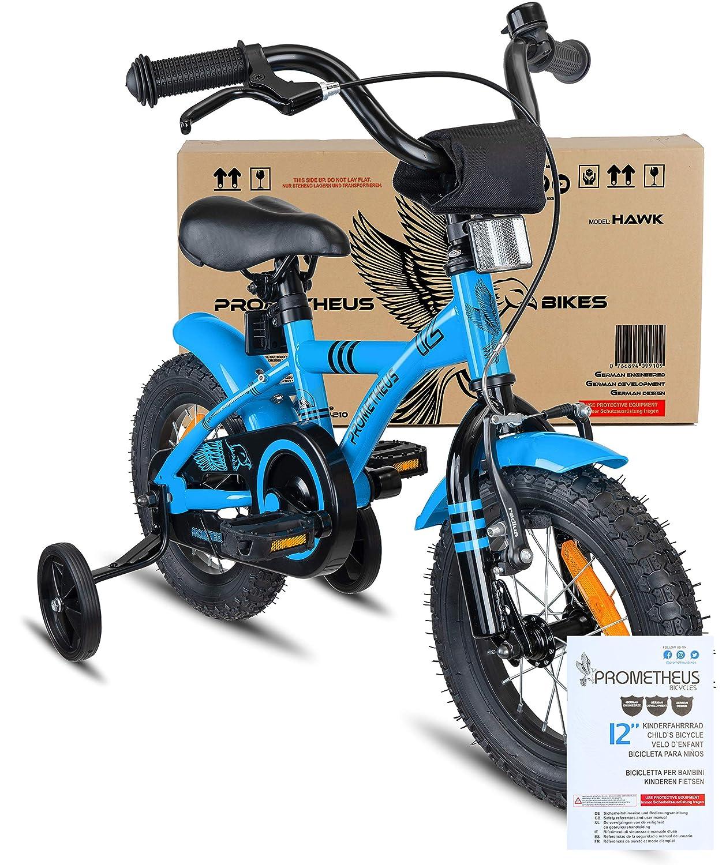 A Partir de 3 a/ños ni/ño y ni/ña 12 Modelo BMX 2019 Azul Negro 12 Pulgadas con ruedines y Freno de contrapedal Prometheus Bicicleta Infantil