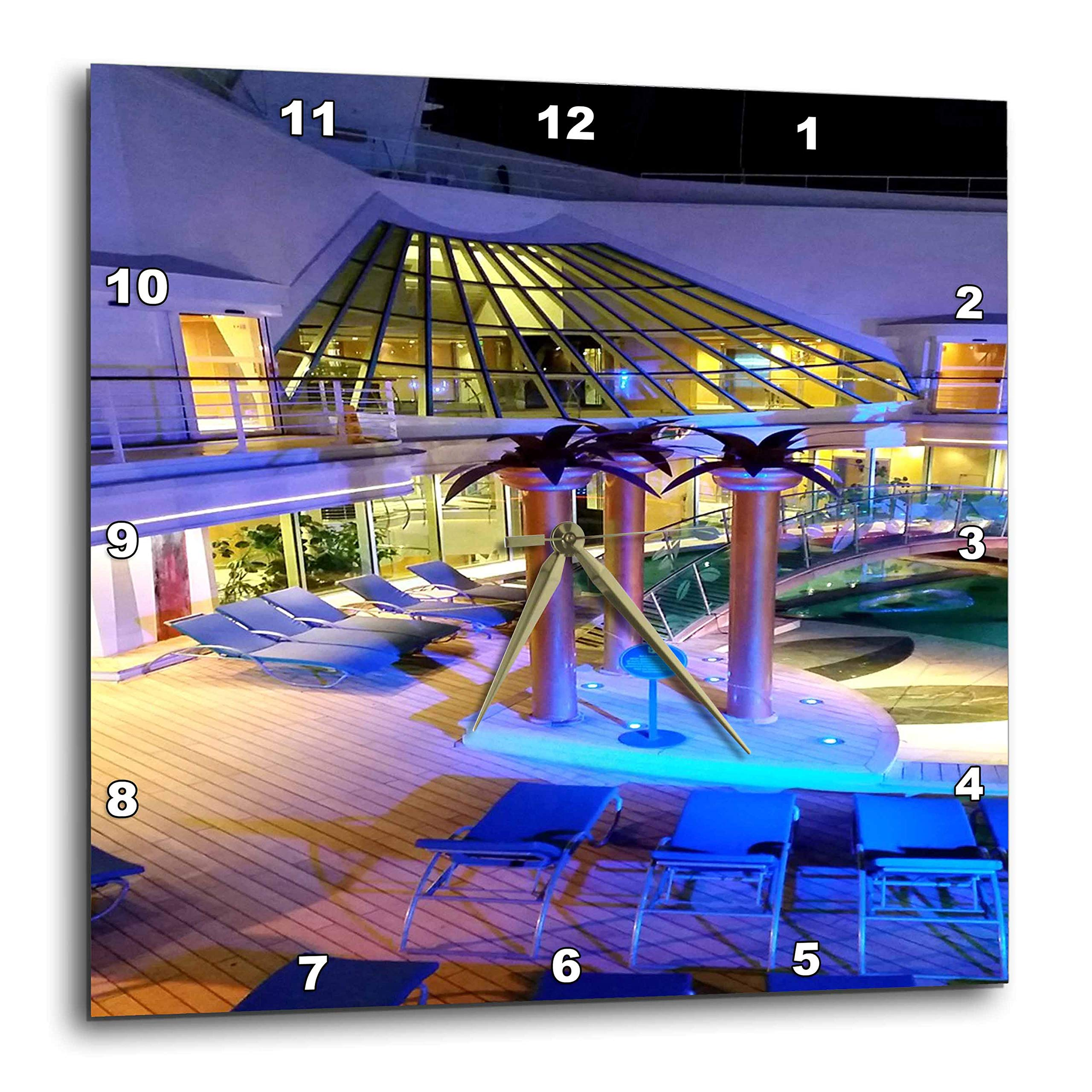 3dRose Lens Art by Florene - Cruise Ship Sites - Image of Adult Pool Area with Spa - 10x10 Wall Clock (DPP_291436_1)