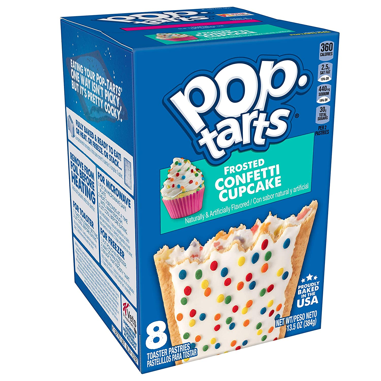 Pop-Tarts, Breakfast Toaster Pastries, Frosted Confetti Cupcake, Proudly Baked in the USA, 13.5oz Box (Pack of 12)