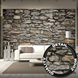 Wallpaper Grey Stonewal – wall picture decoration Stone Rock optic Tapestry Stone pattern 1000Stones Wallpaper stone optic 3D I wall decor by GREAT ART 132,3 Inch x 93,7 Inch / 336 x 238 cm