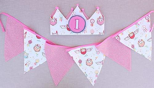 Corona de cumpleaños y banderines de tela a juego regalo ...