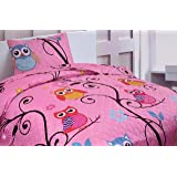 Sapphire Home 2 Piece Twin Size Girls Kids Bedspread Coverlet Quilt Set with Sham, Owl Branch Print Pink Yellow…