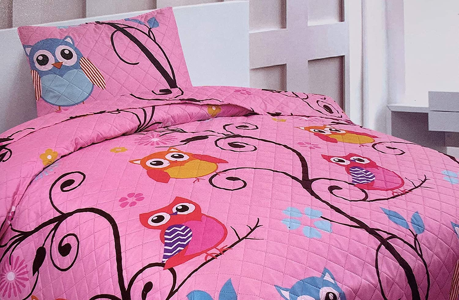 0abc51b15896 Sapphire Home 2 Piece Twin Size Girls Kids Bedspread Coverlet Quilt Set  with Sham, Owl Branch Print Pink Yellow Turquoise Girls Kids Bedding Set,  ...