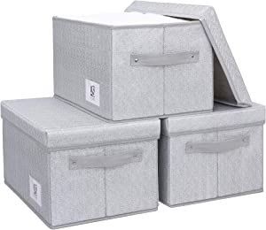 JS HOME Large Closet Storage Bins with Lids, Foldable Storage Baskets for Shelves, Fabric Storage Bins,Storage Baskets with Handles, Grey&White, 3-Pack, 15.1