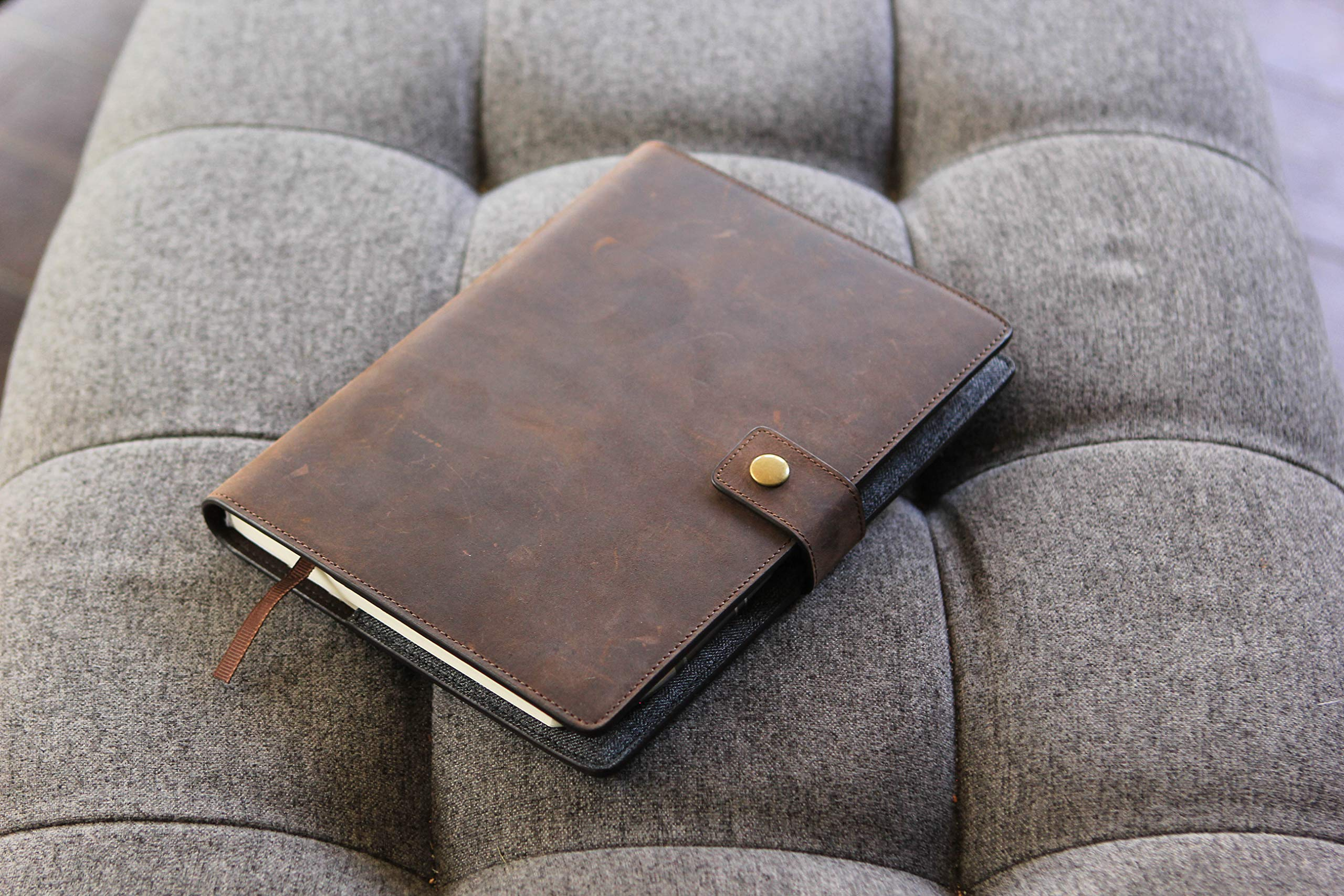 CASE ELEGANCE Full Grain Premium Leather Refillable Journal Cover with A5 Lined Notebook, Pen Loop, Card Slots, & Brass Snap by CASE ELEGANCE (Image #5)