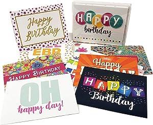 32 Birthday Card Assortment - 16 Unique Assorted Designs Blank Cards - Bulk Set (32 Cards)