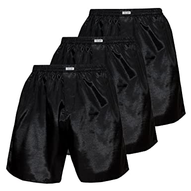 249e5887846935 Men's Underwear Sleepwear Thai Silk Boxer Shorts Set of 3 at Amazon ...