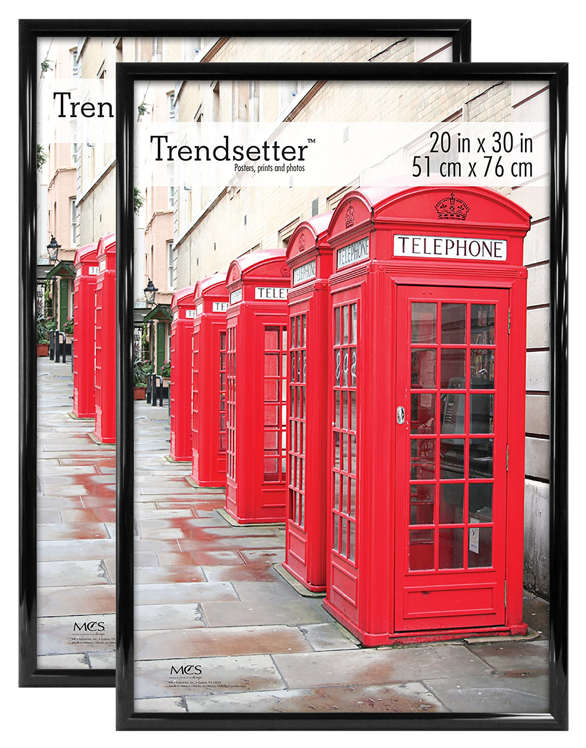MCS Trendsetter Poster Frame, 20 by 30-Inch, Black, 2-Pack by MCS