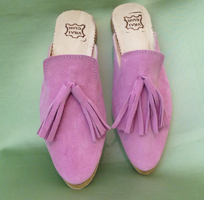 Handmade Shoes Women Mule Slides, Suede