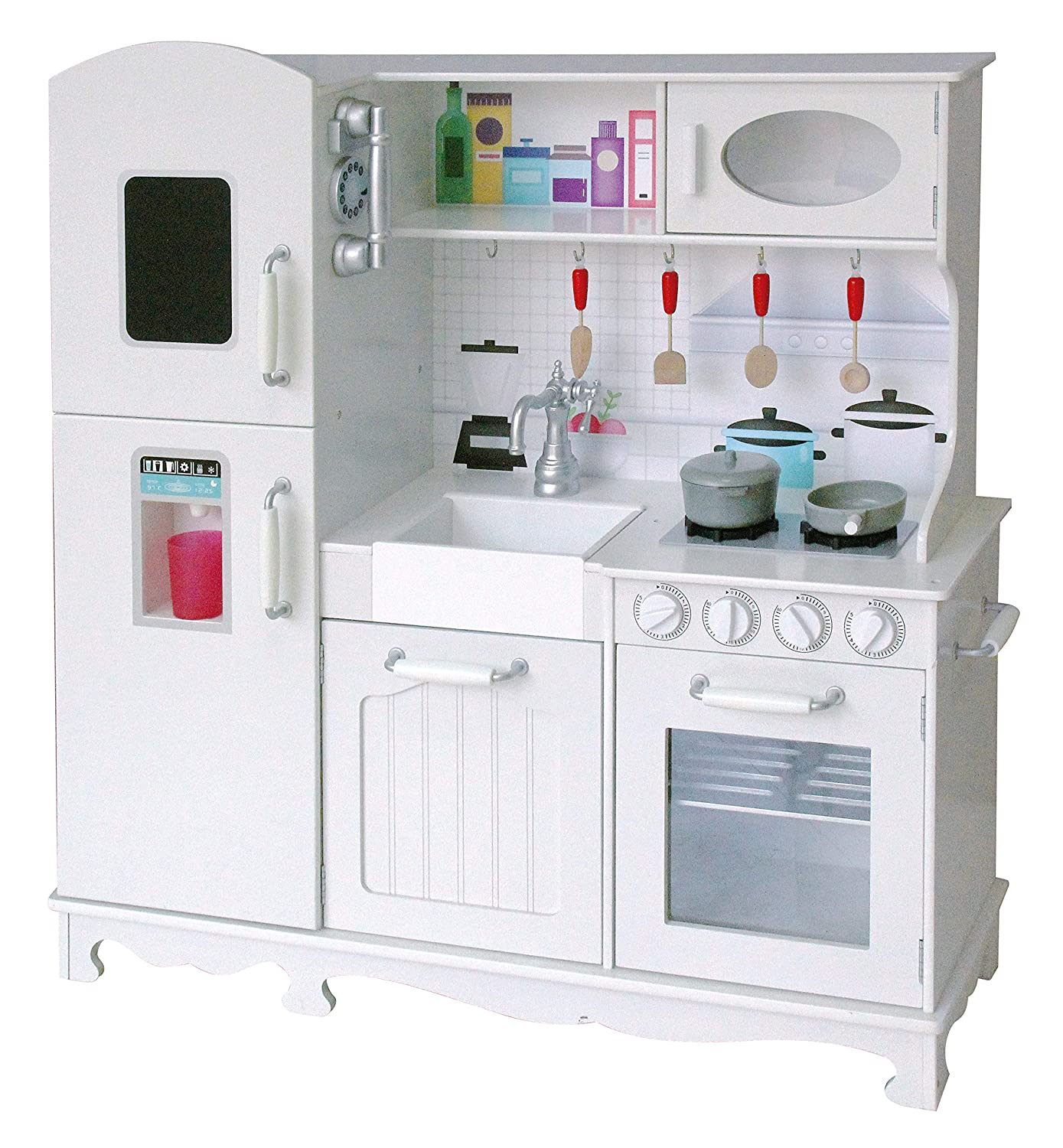 Rainbow Sophia Timeless Wood Kids Play Kitchen, Toddler Pretend Play Set with Ice Maker, Stove, Oven and Sounded Knobs