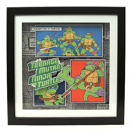 Silver Buffalo NT6406SB Teenage Mutant Ninja Turtles Buffalo Tough as A Turtle Shadow Box, Silver