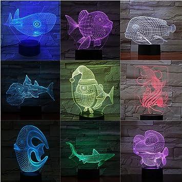 Lámpara de Mesa de Pescado ilusión Sensor de luz Decorativa táctil ...