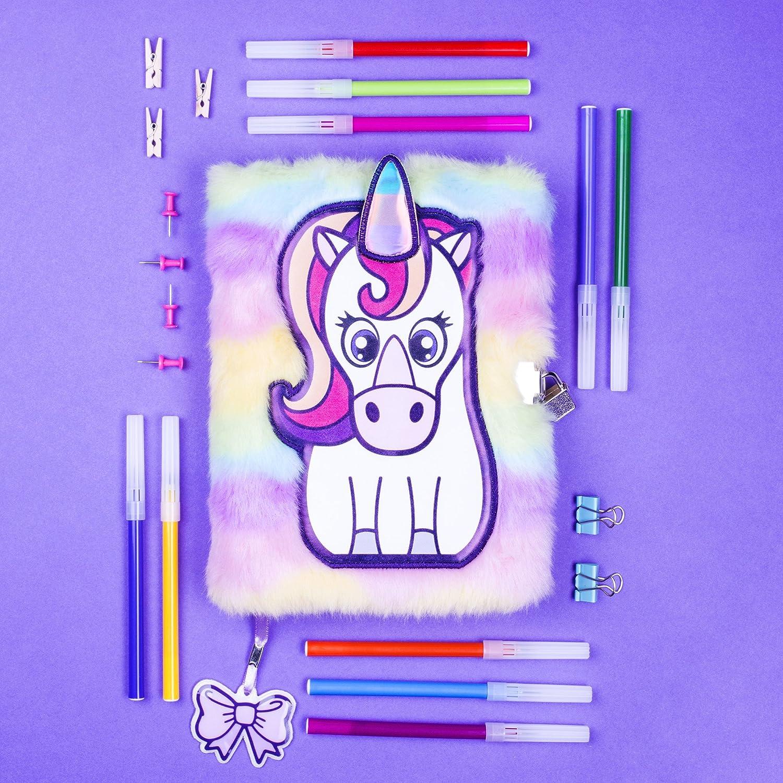 lingua italiana non garantita FRINGOO/® con lucchetto e segnalibro formato A5 design a forma di tenero unicorno agenda di peluche 3D per ragazzi e ragazze A5 Unicorn Rainbow 80 pagine