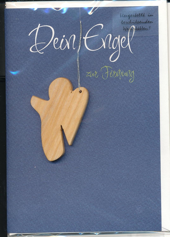 Besondere Gl/ückwunschkarte Zur Firmung Dein Engel zur Firmung mit Spruch und feinem Schutzengel Holzanh/änger aus Eschenholz