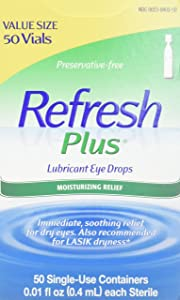 Refresh Plus Lubricant Eye Drops, Single-Use Containers, (50 Count of 0.01 Fl Oz Containers), 0.5 Fl Oz