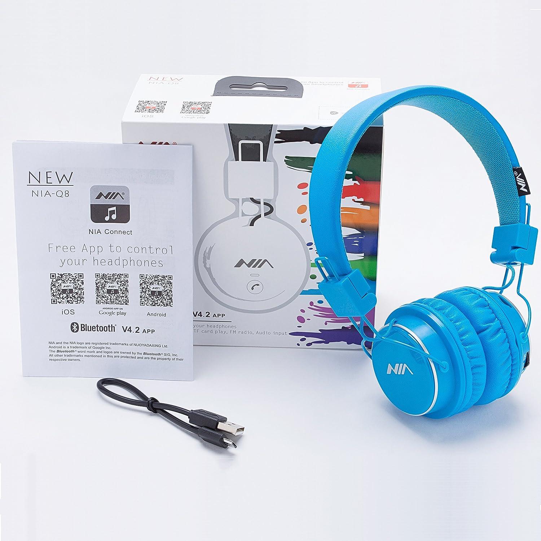 Auriculares Bluetooth Sobre Orejas, para Niños con Limitación de Volumen, Auriculares Plegables, Ligeros, Radio FM, Reproductor de Tarjetas TF, ...