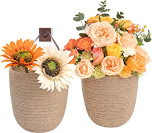 JS HOME 2 Pack Jute Hanging Baskets with Leather Handle, Decorative Wall Basket for Plants and Flowers, Small Woven Fern Wall Hanging Basket, Hanging Baskets for Organizing, Jute, 8
