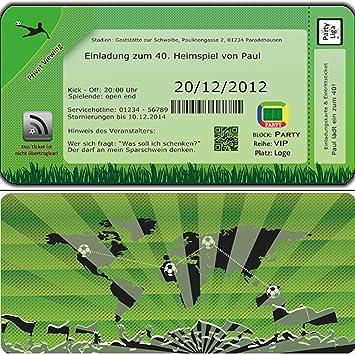 Fussball Einladungskarten Geburtstag Einladungen Fussball Ticket Ein Ladung 70 Stuck