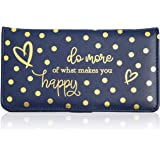 RFID Blocking Checkbook Cover, Blue Wallet with Foil Polka Dots (7 x 3.75 In)