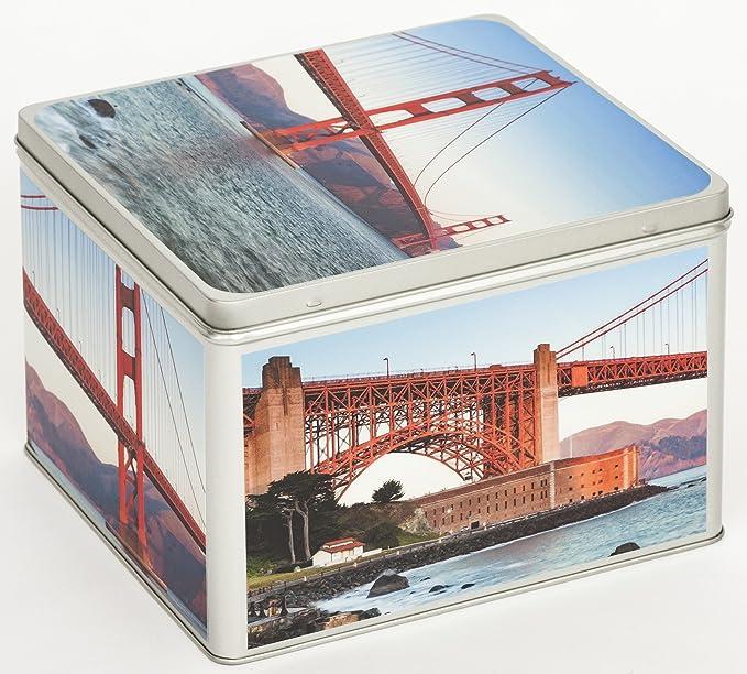Álbum de fotos Metal – Lata Caja Almacenaje Caja Bote para galletas (Diseño de San Francisco: Amazon.es: Bebé