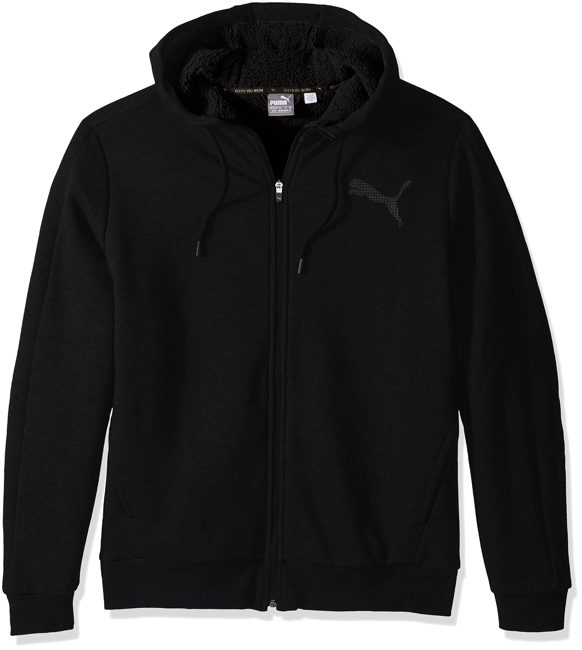 PUMA Men's Sherpa Full Zip Hoody, Cotton Cotton Black, XX-Large