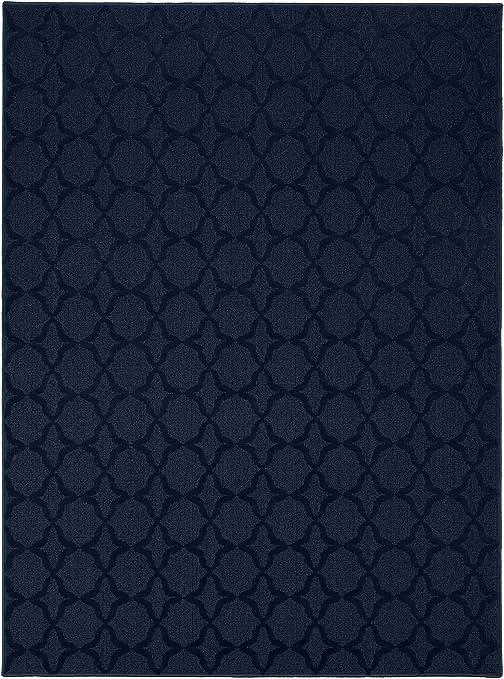 Navy Blue Area Rug 9 x 12 ft Polypropylene Tufted Rectangle Machine Made Carpet