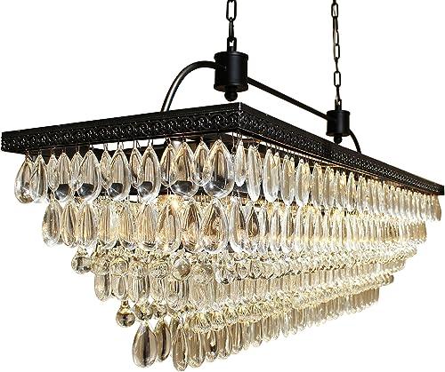 The Weston 40 Inch Rectangular Glass Drop Crystal Chandelier, Black