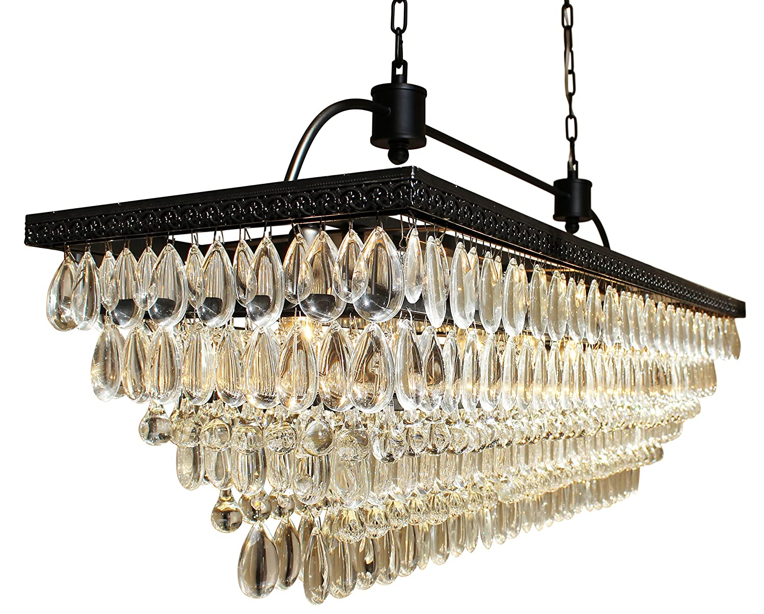 trimmed contemporary swarovski light amazon rectangular chandeliers com crystal dp chandelier lighting