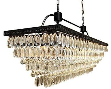 The Weston 40 Inch Rectangular Glass Drop Crystal Chandelier, Black