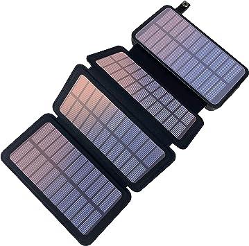 YELOMIN - Cargador solar portátil con 4 paneles solares, resistente al agua, con 2 puertos USB para iPhone, Samsung, Android y tablets, cámara, etc.