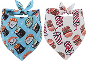 BoomBone 2Pack Designer Dog Bandana,Cute Pet Scarf with Food Pattern for Small Medium Large Dogs