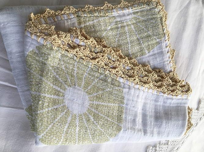 Muselina de algodón para bebés con puntilla Modelo Lemon