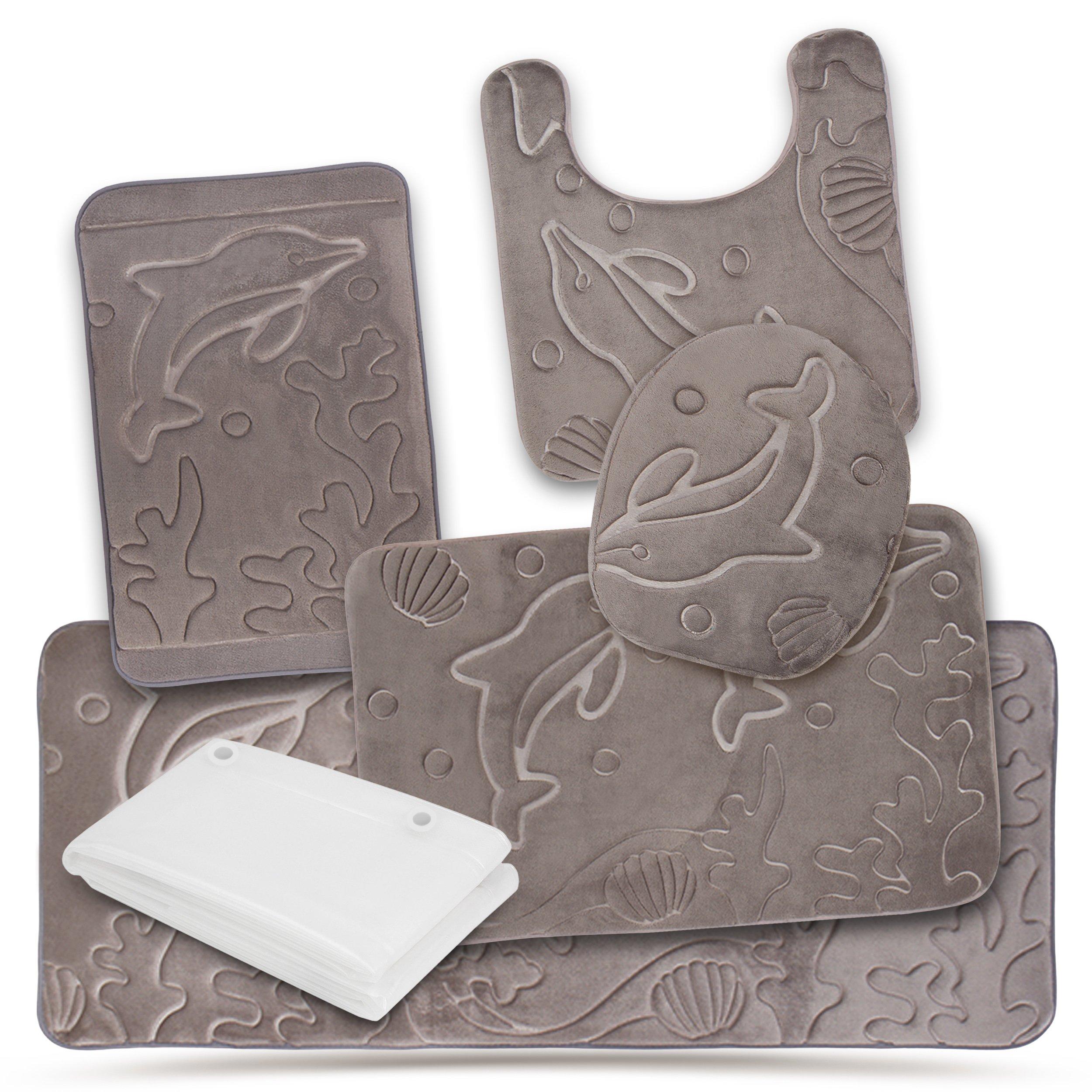 Extra Eva Shower Liner Effiliv Bathroom Rugs Set 5 Piece Memory Foam Mats