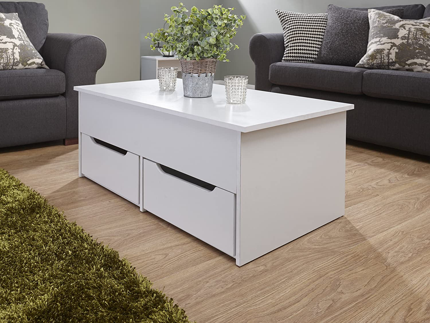 Ultimate Two Drawer Lift Up Storage Coffee Table White Amazon Co Uk Kitchen Home