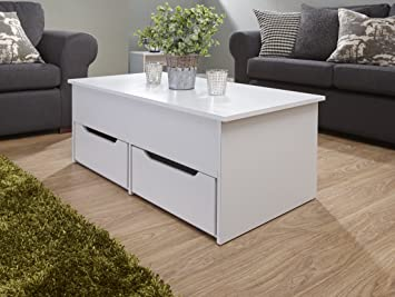 White Lift Up Coffee Table.Ultimate Two Drawer Lift Up Storage Coffee Table White Amazon Co