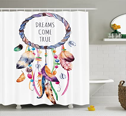 Ambesonne Feather Shower Curtain Ethnic And Tribal Native American Dream Catcher Illustration Bohemian Style Image