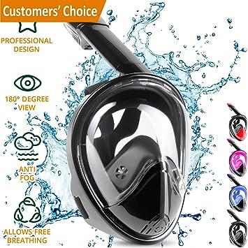 Máscara Buceo completa con Snorkel de 180º - Máscara de snorkel para respirar más fácil -